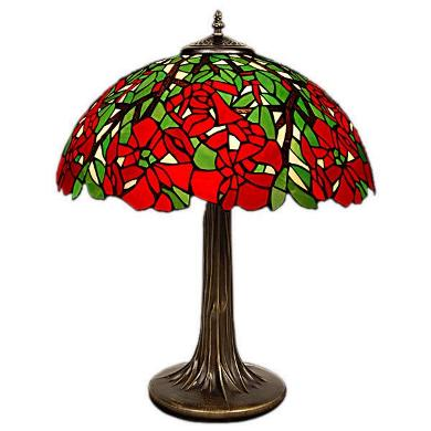 16 Inch Poinsettia Red Green Tiffany Table Lamp