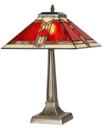Classic 14 Inch Red and Cream Art Deco Table Lamp