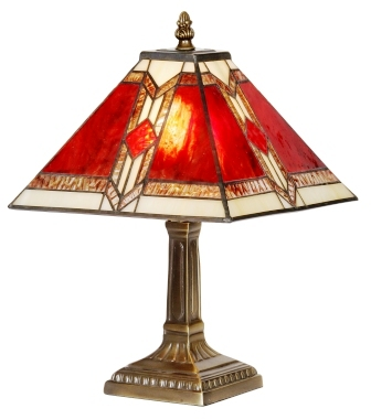 Classic 9 Inch Red and Cream Art Deco Table Lamp