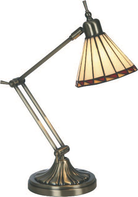 Adjustable desk lamp with glass shade
