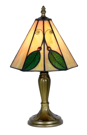 8 Inch Green Leaf Tiffany Table Lamp