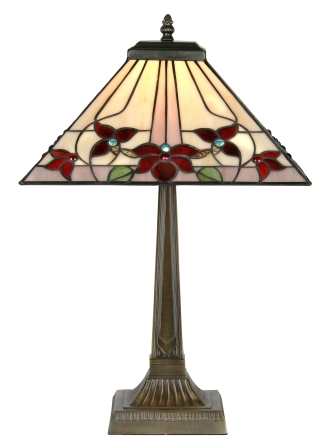 14 Inch Square Floral Tiffany Table Lamp