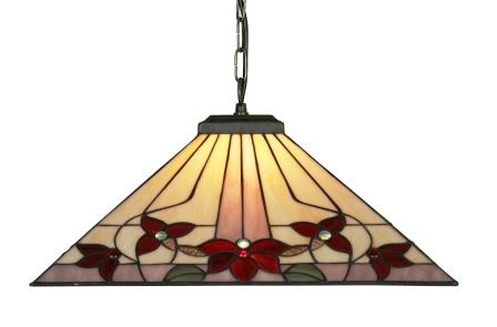 Square Floral Tiffany Pendant Light
