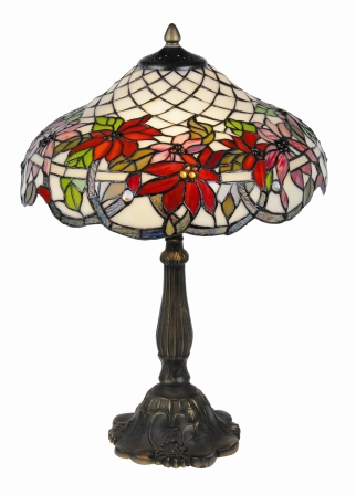 16 inch Poinsettia floral table lamp