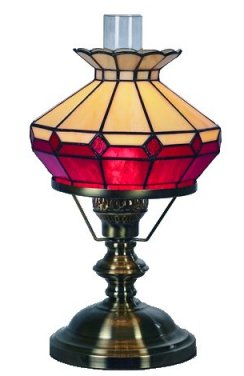 10 Inch Beige/Red Oil Style Table Lamp