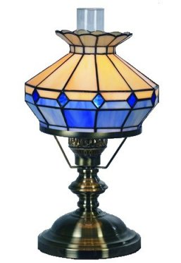 10 Inch Beige/Blue Oil Style Table Lamp