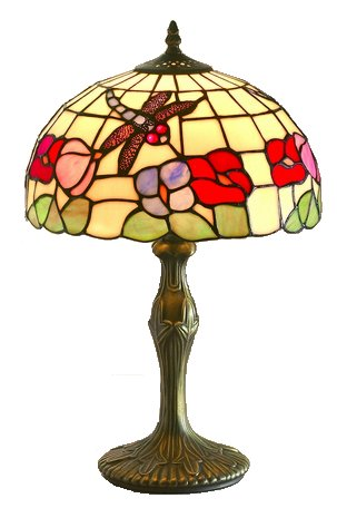 15 Inch Floral Table Lamp with Dragon Fly Motif