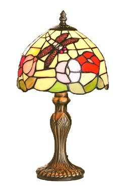 8 Inch Floral Table Lamp with Dragon Fly Motif