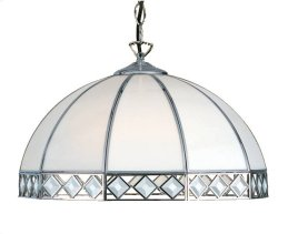 16in Bevelled Pendant Shade in White and Chrome